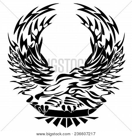 Tribal Eagle Tattoo Style With Banner Vector Illustration