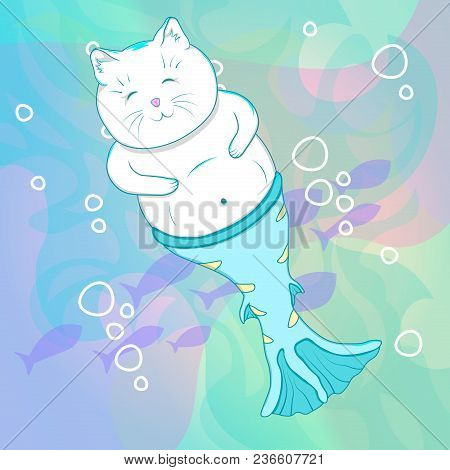 Pretty Cat Mermaid Underwater. Fishes On Background. Cartoon Vector Character.