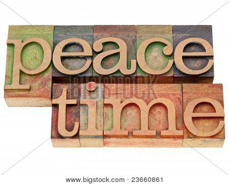 Peacetime Word In Letterpress Type