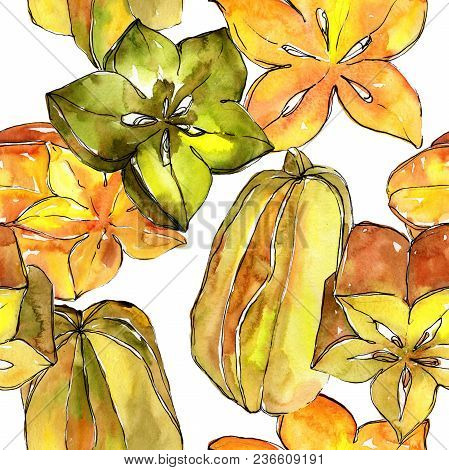 Exotic Carambola Healthy Food In A Watercolor Style Pattern. Full Name Of The Fruit: Carambola. Aqua