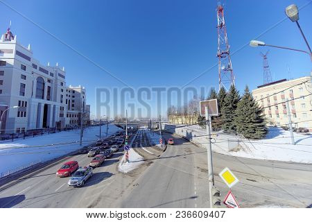 Nizhny Novgorod, Russia. - March 29.2018. View From The Pedestrian Bridge To The Oka Descent In The