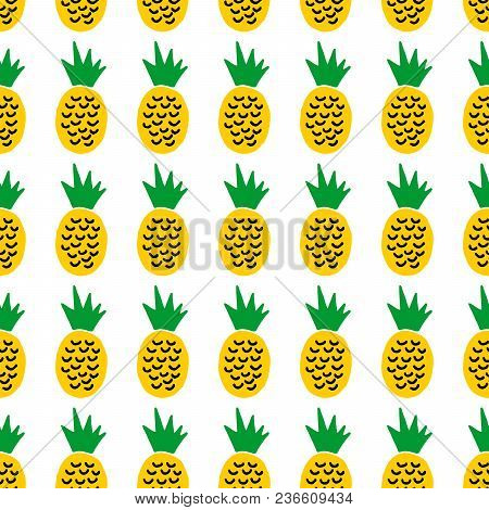 Cute Cartoon Summer Design With Hand Drawn Pineapples. Sweet Vector Colorful Summer Design. Seamless