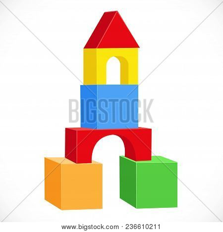 Symmetrical Turret From Multi-colored Toy Cubes Objects Isolated On White Background