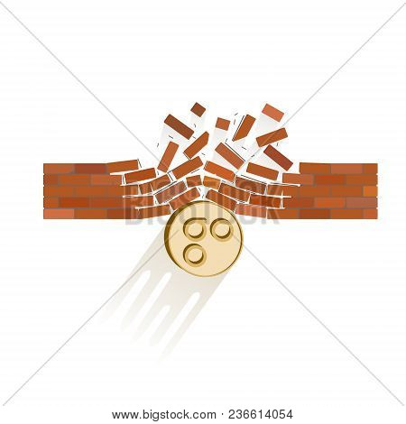 Omisego Coin Breaks Through The Wall Resistance On A White Background , The Price Of Crypto Currency