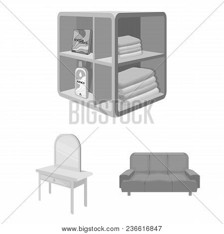 Furniture And Interior Monochrome Icons In Set Collection For Design. Home Furnishings Vector Isomet