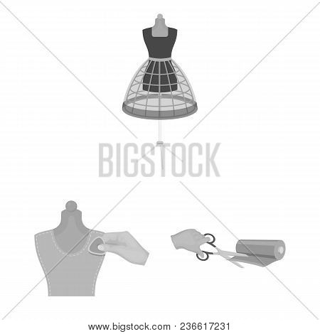 Atelier And Equipment Monochrome Icons In Set Collection For Design. Sewing Of Outer Clothing Vector