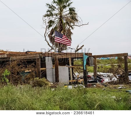 A Home Destroyed And American Still Flying After Powerful Hurricane Harvey On The Texas Coast