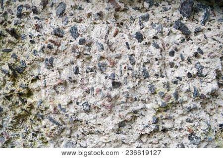 Concrete Gray Old Stone Sharp Texture With Shards Of Various Stones Of Different Shapes Background