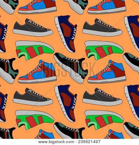 Pictures Of Colored Sneakers. Vector Seamless Pattern With Fashion Footwear Shoelace Illustration Ep