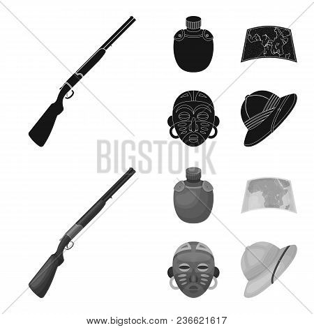 Hunting Rifle, Flask In The Case, Map, African Mask. African Safari Set Collection Icons In Black, M