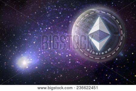 cryptocurrency, financial technology and business concept - golden ethereum coin over ultra violet space background