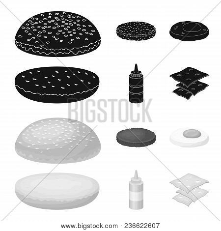 Burger And Ingredients Black, Monochrom Icons In Set Collection For Design. Burger Cooking Vector Sy