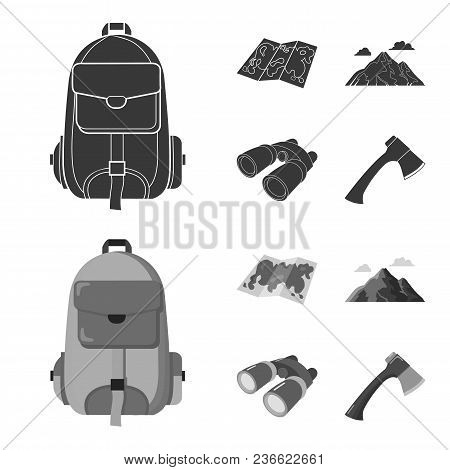Backpack, Mountains, Map Of The Area, Binoculars. Camping Set Collection Icons In Black, Monochrom S