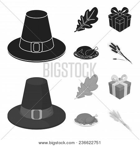 Hat Of A Pilgrim, Oak Leaf, Gift In A Box, Fried Turkey.canada Thanksgiving Day Set Collection Icons