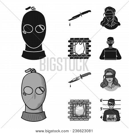 A Thief In A Mask, A Bloody Knife, A Hostage, An Escape From Prison.crime Set Collection Icons In Bl