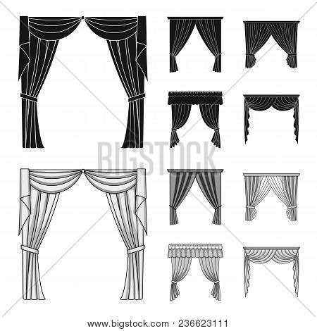 Different Types Of Window Curtains.curtains Set Collection Icons In Black, Monochrom Style Vector Sy