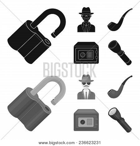 Lock Hacked, Safe, Smoking Pipe, Private Detective.detective Set Collection Icons In Black, Monochro
