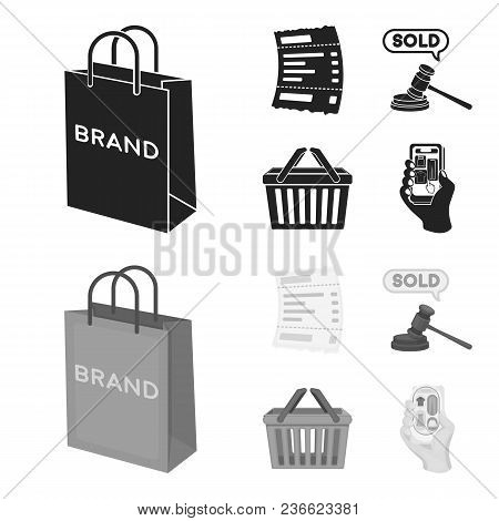 Bag And Paper, Check, Calculation And Other Equipment. E Commerce Set Collection Icons In Black, Mon