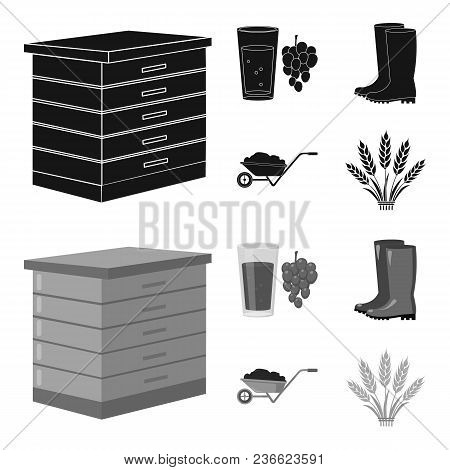 Hive, Grapes, Boots, Wheelbarrow.farm Set Collection Icons In Black, Monochrom Style Vector Symbol S