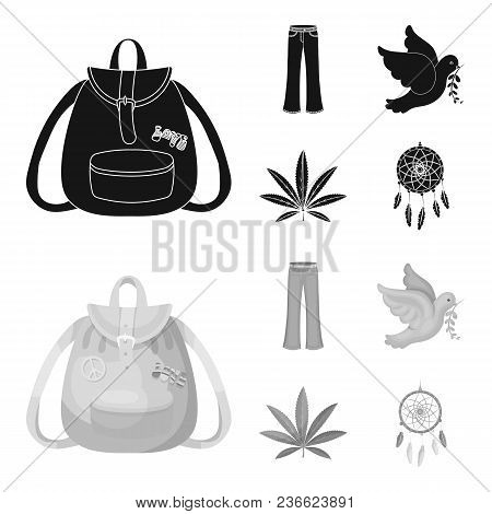A Cannabis Leaf, A Dove, Jeans, A Backpack.hippy Set Collection Icons In Black, Monochrom Style Vect
