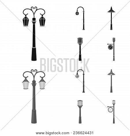 Lamppost In Retro Style , Modern Lantern, Torch And Other Types Of Streetlights. Lamppost Set Collec