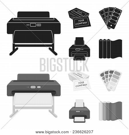 Printer, Credit Card, Color Palette.typography Set Collection Icons In Black, Monochrom Style Vector