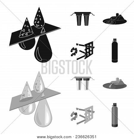 Filter, Filtration, Nature, Eco, Bio .water Filtration System Set Collection Icons In Black, Monochr