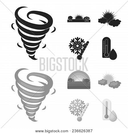 Tornado, Sunrise, Cloudiness, Snow And Frost. The Weather Set Collection Icons In Black, Monochrom S