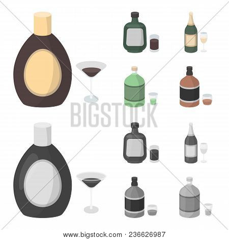 Liquor Chocolate, Champagne, Absinthe, Herbal Liqueur.alcohol Set Collection Icons In Cartoon, Monoc