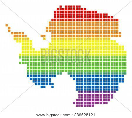Vector Homosexual Tolerance Antarctica Map In Lgbt Flag Colors On A White Background. Spectrum Vecto
