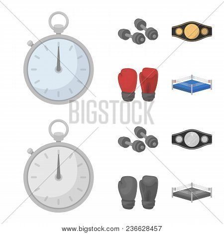Boxing, Sport, Stopwatch, Watch .boxing Set Collection Icons In Cartoon, Monochrome Style Vector Sym