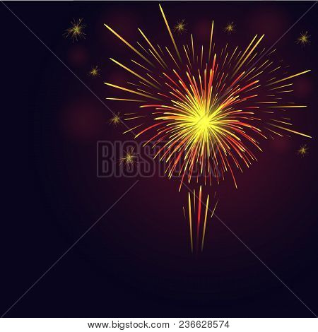 Celebration Multicolored Sparkling Vector Golden, Red Fireworks Over Night Sky. 4th Of July Independ