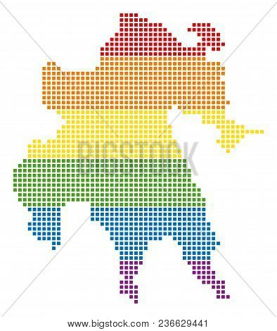 Vector Homosexual Tolerance Peloponnese Half-island Map In Lgbt Flag Colors On A White Background. R