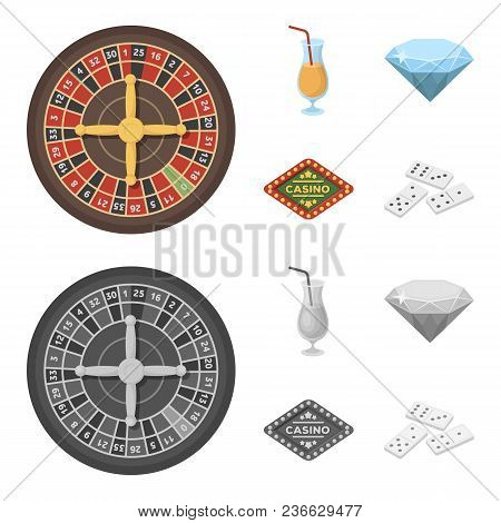 Roulette, A Glass With A Drink, A Diamond, A Sign With The Inscription Casino And Gambling Set Colle