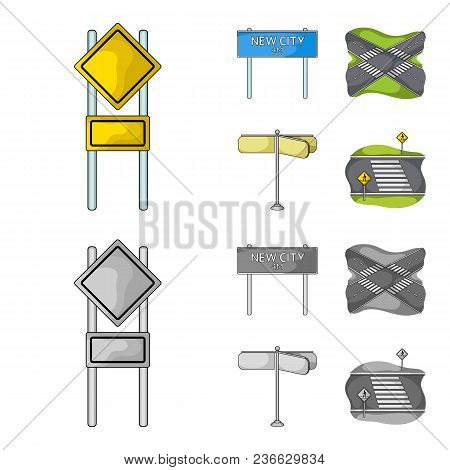 Road Signs And Other  Icon In Cartoon, Monochrome Style.road Junctions Icons In Set Collection.