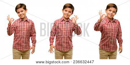 Handsome toddler child with green eyes doing ok sign with hand, approve gesture