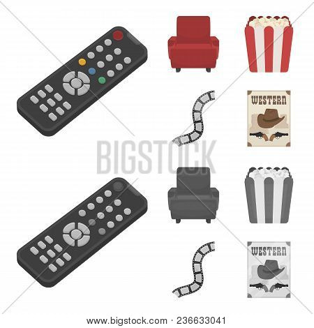 Control Panel, An Armchair For Viewing, Popcorn.films And Movies Set Collection Icons In Cartoon, Mo