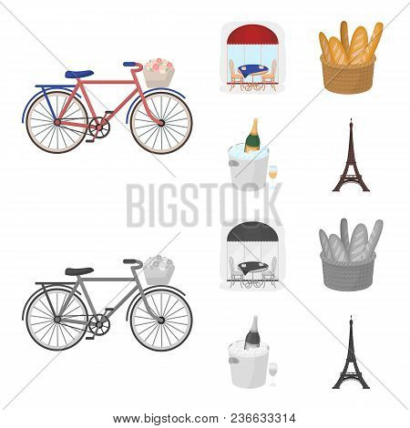 Bicycle, Transport, Vehicle, Cafe .france Country Set Collection Icons In Cartoon, Monochrome Style