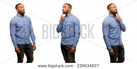 African american man with beard having skeptical and dissatisfied look expressing Distrust, skepticism and doubt