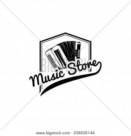 Accordion Icon. Music Store Label. Musical Instrument Logo. Music Shop Emblem. Vector Illustration