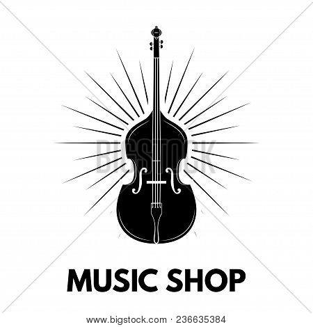 Violin Icon. Music Shop Logo Label Embem. Musical Instrument. Beams. Music Store. Vector Illustratio