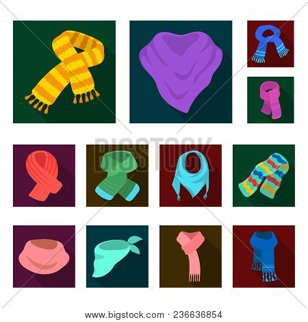Scarf And Shawl Flat Icons In Set Collection For Design.clothes And Accessory Vector Symbol Stock Il