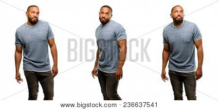 African american man with beard making funny face fooling