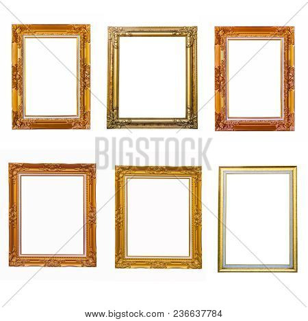 Antique Gold Frame On Isolated Background,mix Antique Gold Frame,many Gold Frame