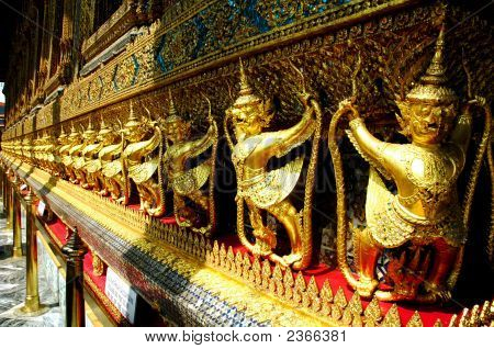 Golden Monkeys Guarding The Temple At Grand Palace