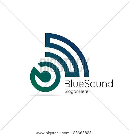 Blue Sound. Audio Signal Wireless With Initial Letter B S. Blue And Green Wave Vector Logo Illustrat