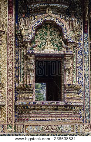 Buddha Wat Phraphutthabat Si Roi Province  Golden Green Blue Red Mosaic Vibrant Architecture Window