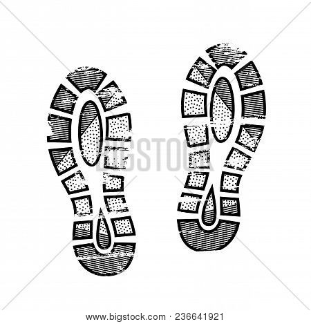 Footprints And Shoeprints Icon In Black And White Showing Bare Feet And The Imprint Of The Soles Wit