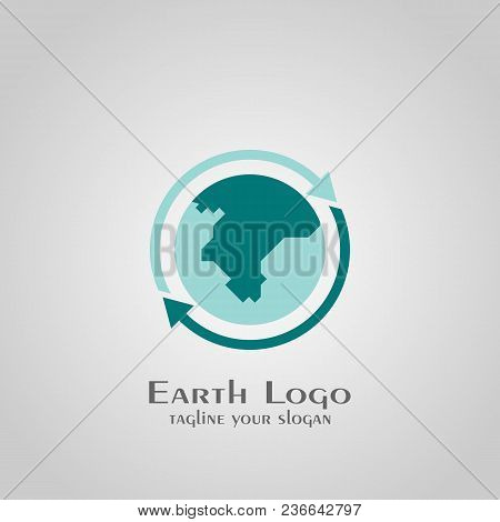 Earth Logo, World Logo Design, With Arrow Symbol Of Rotations.