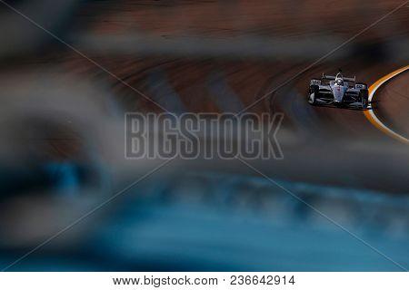 April 06, 2018 - Avondale, Arizona, USA: Josef Newgarden (1) dives into turn 1 during practice for the Desert Diamond West Valley Casino Phoenix Grand Prix at ISM Raceway in Avondale, Arizona.